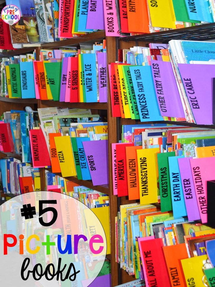 Picture books/bookshelf hack plus 14 more classroom organization hacks to make teaching easier that every preschool, pre-k, kindergarten, and elementary teacher should know. FREE theme box labels too!