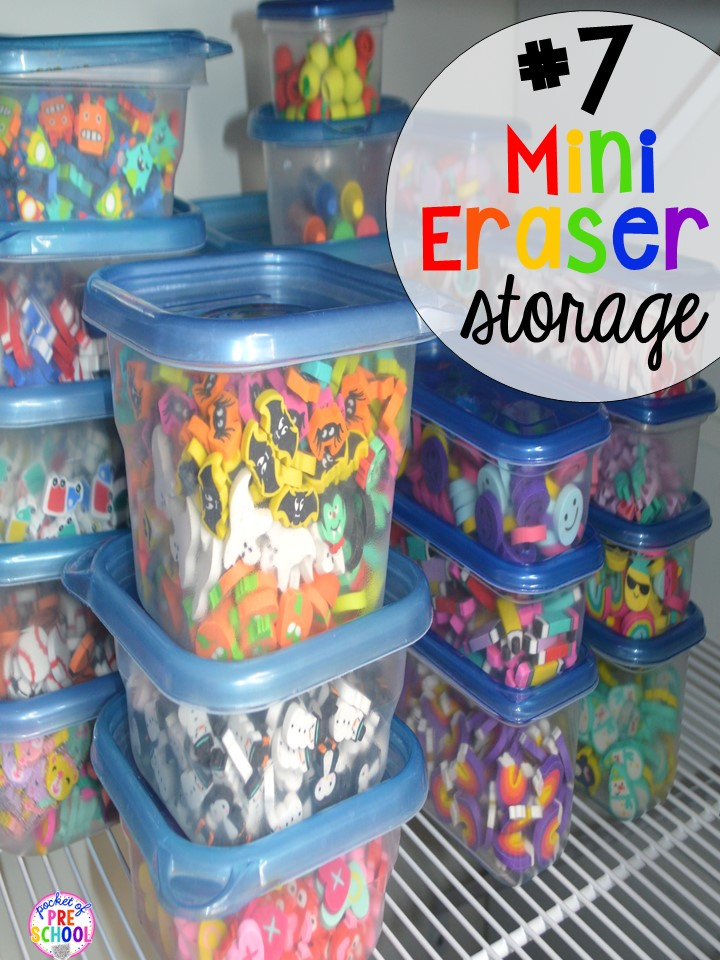 Mini eraser storage hack plus 14 more classroom organization hacks to make teaching easier that every preschool, pre-k, kindergarten, and elementary teacher should know. FREE theme box labels too!