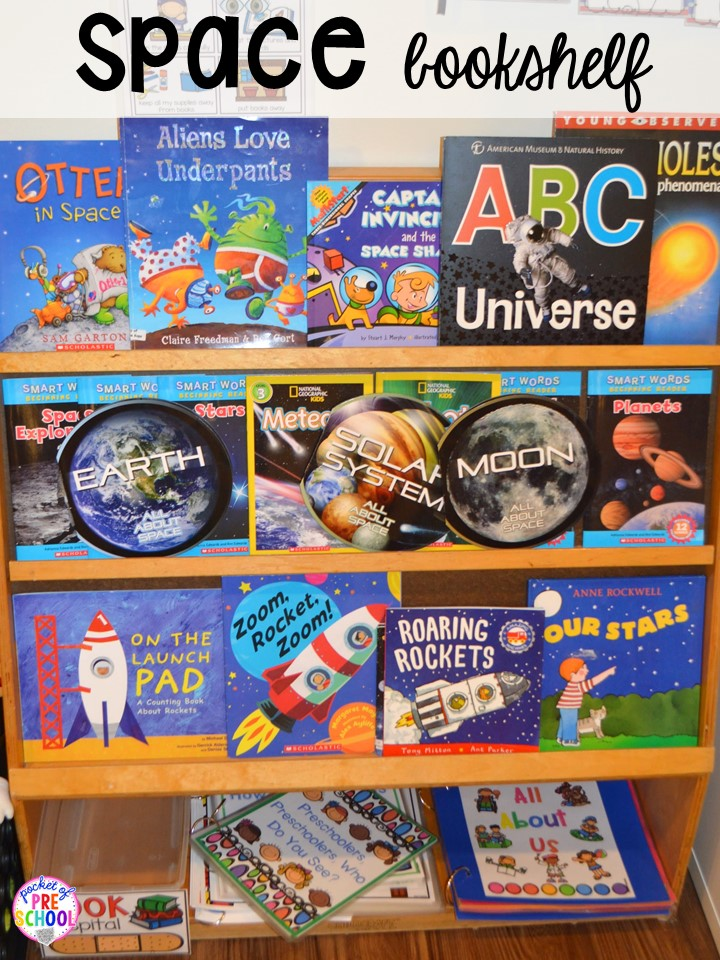 Space books! Space theme activities and centers (literacy, math, fine motor, stem, blocks, sensory, and more) for preschool, pre-k, and kindergarten