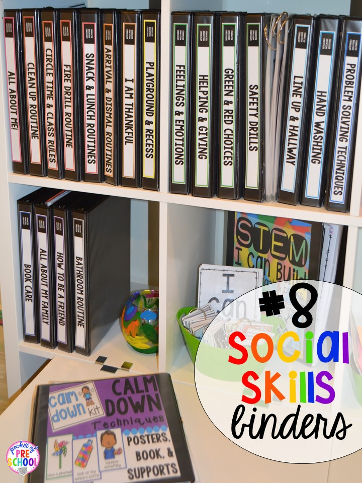 Social skills supports hack plus 14 more classroom organization hacks to make teaching easier that every preschool, pre-k, kindergarten, and elementary teacher should know. FREE theme box labels too!