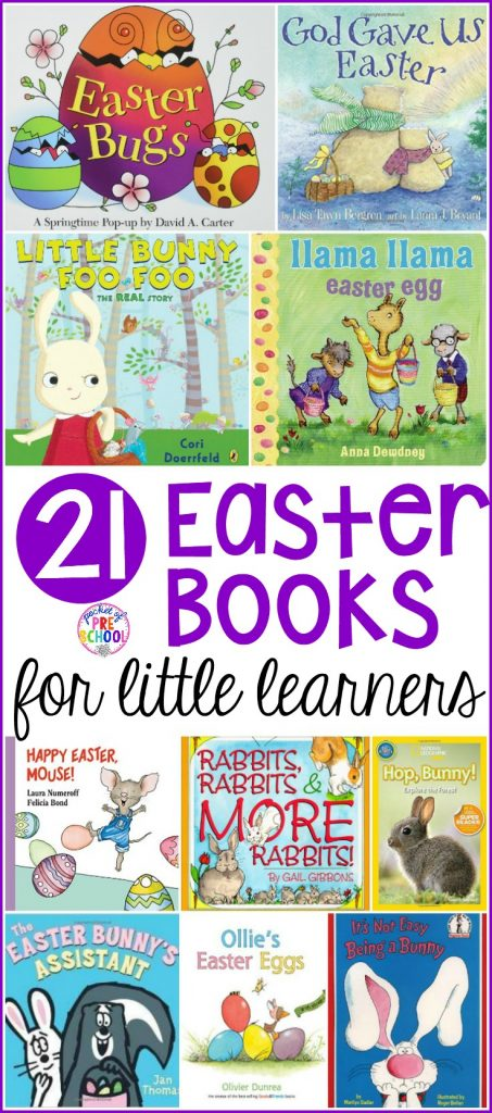 My favorite Easter books for my preschool, pre-k, and kindergarten friends. It's filled with bunnies, eggs, and diversity. #easterbooks #preschool #prek #eastertheme