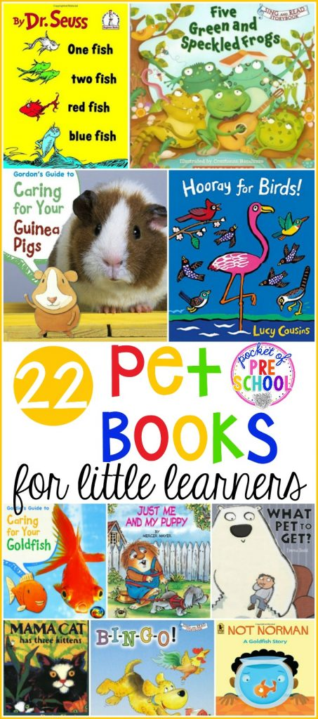 HUGE Pet book list perfect for preschool, pre-k, and kindergarten. From fish, dogs, frogs, cats, and hamsters these furry characters are sure to become classroom friends in no time thanks to these pet books.