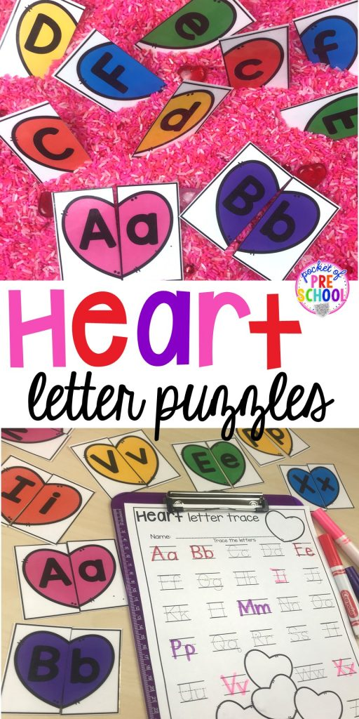 heart letter puzzles  uppercase and lowercase letter match ups