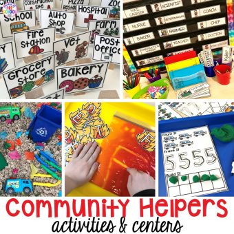 Community Helper themed activities and centers for preschool, pre-k, and kindergarten. Plus FREE community signs & fire printable.