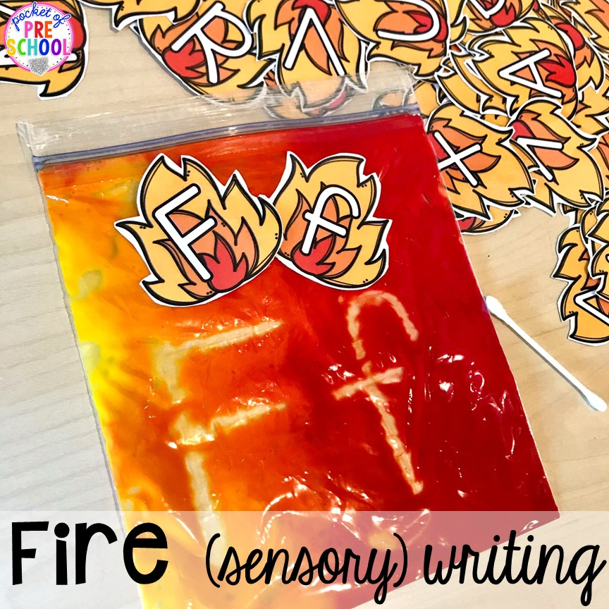 Fire sensory letter & sight word writing! Community Helper themed activities and centers for preschool, pre-k, and kindergarten.