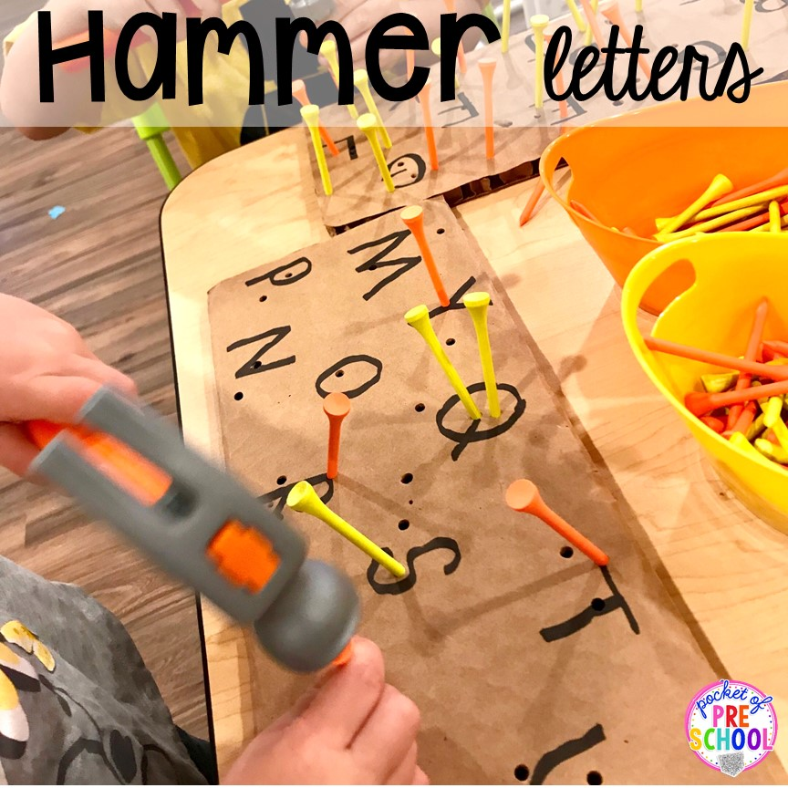 Construction workers hammers letters! Community Helper themed activities and centers for preschool, pre-k, and kindergarten.