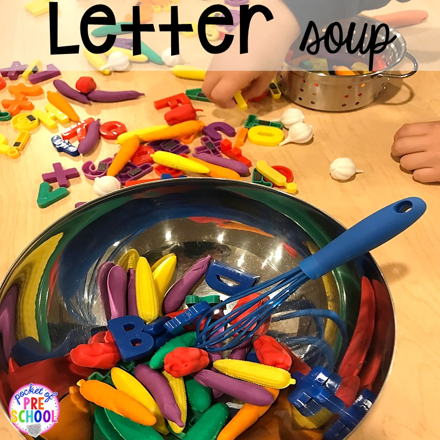 Letter soup letter game! Community Helper themed activities and centers for preschool, pre-k, and kindergarten.