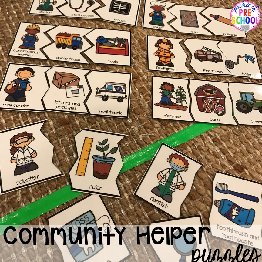 Community helper puzzle! Community Helper themed activities and centers for preschool, pre-k, and kindergarten. Plus FREE community signs.