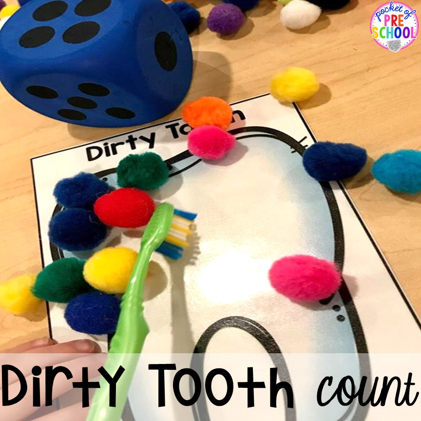 Dirty tooth math game! Community Helper themed activities and centers for preschool, pre-k, and kindergarten.