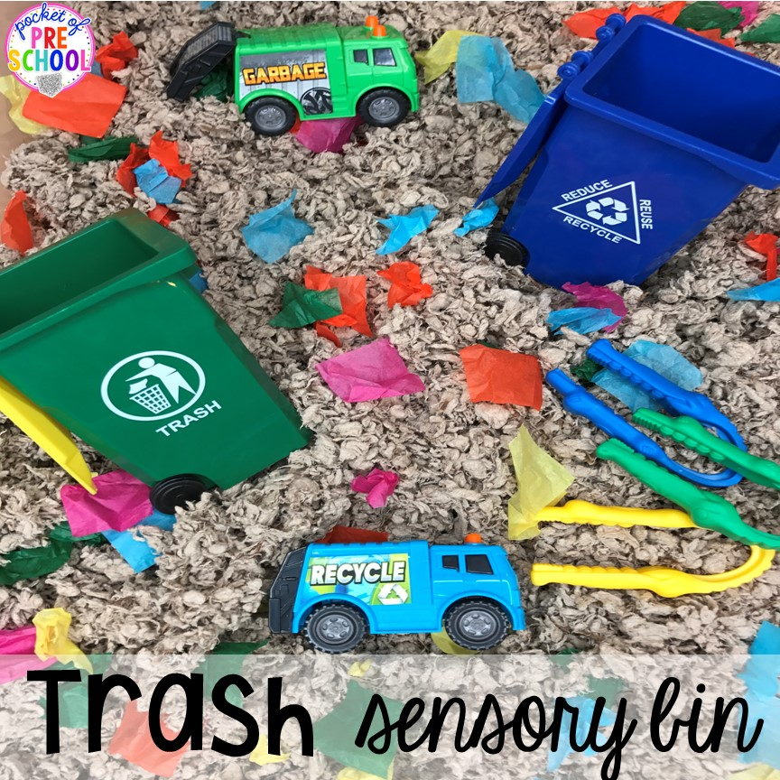 Trash sensory table! Community Helper themed activities and centers for preschool, pre-k, and kindergarten. Plus FREE community signs & fire printable.