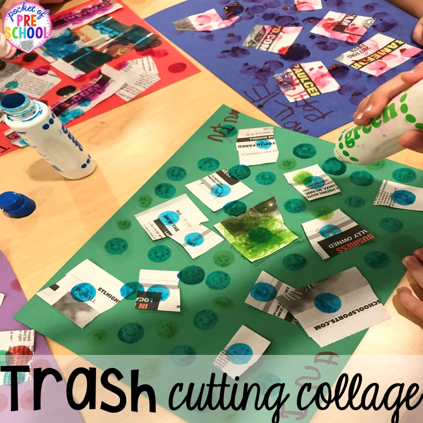 Trash cutting collage! Community Helper themed activities and centers for preschool, pre-k, and kindergarten.