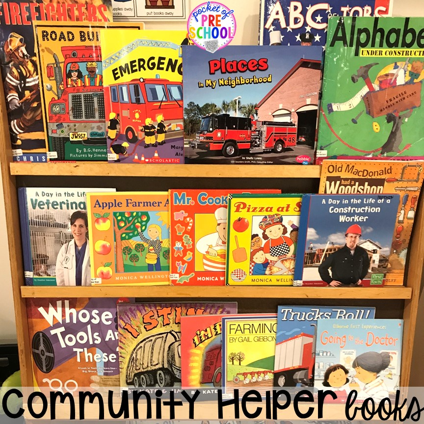 Community helper books! Community Helper themed activities and centers for preschool, pre-k, and kindergarten. Plus FREE community signs & fire printable.