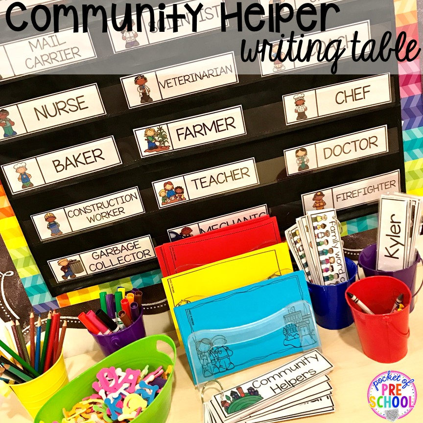 Community helper writing table! Community Helper themed activities and centers for preschool, pre-k, and kindergarten.
