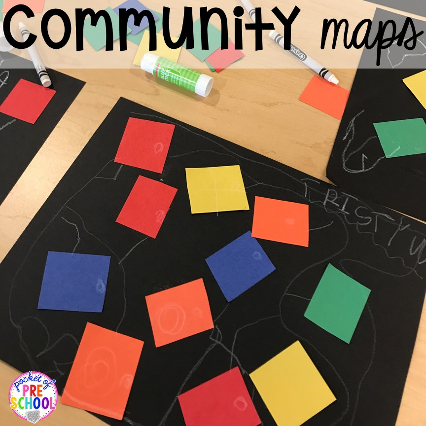 Community map math activity! Community Helper themed activities and centers for preschool, pre-k, and kindergarten.