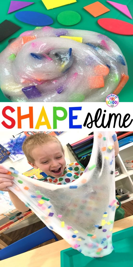 SHAPE slime! How to make shape slime and infuse geometry into sensory play for toddler, preschool and kindergarten kids.