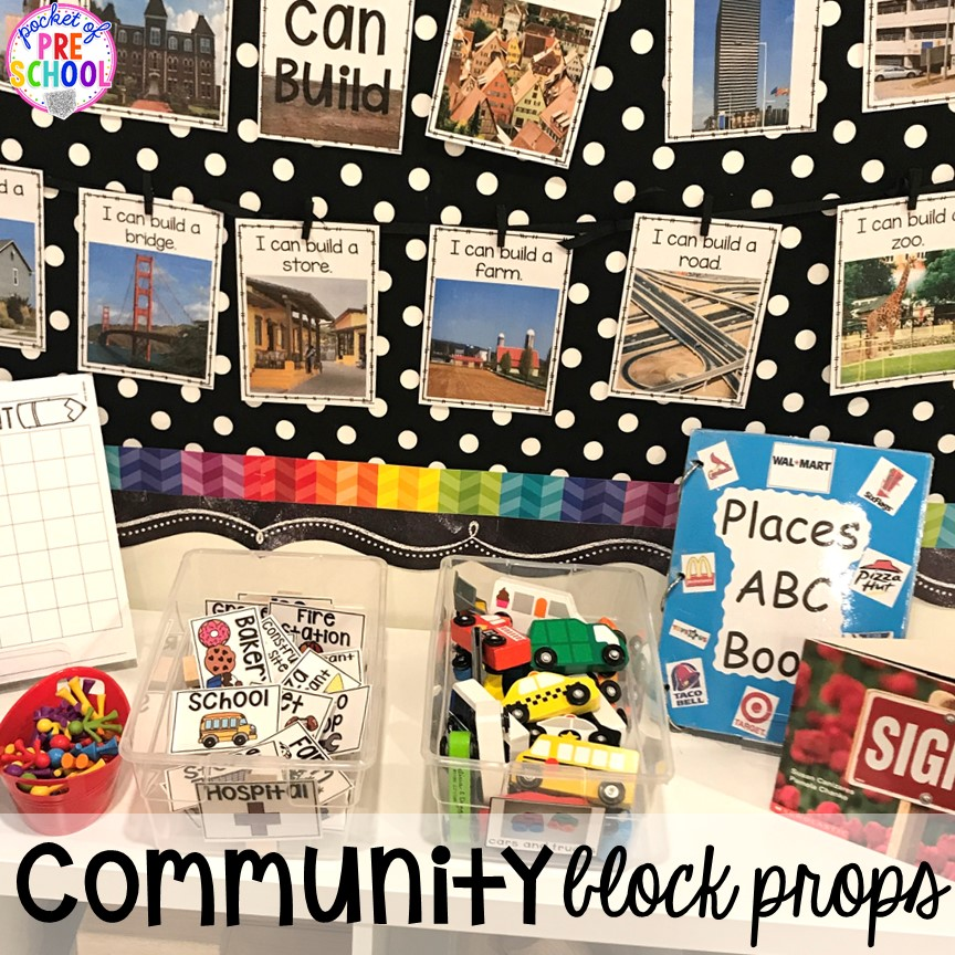 Community Helper block props & FREE Community Signs! Community Helper themed activities and centers for preschool, pre-k, and kindergarten.