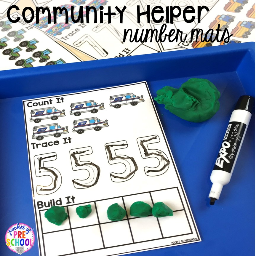 Community helper number mats! Community Helper themed activities and centers for preschool, pre-k, and kindergarten.