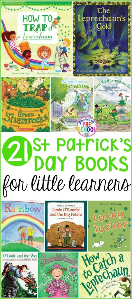 Giant list of St. Patrick's Day books for your preschool, pre-k, and kindergarten kiddos. A book list filled with leprechauns, clovers, rainbows, plus everything green and gold. Ready to plop right into your March lesson plans. #preschool #booklist #stpatricksday #prek