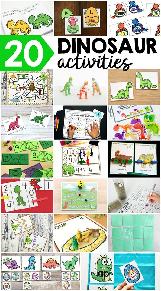 Dinosaur themed activities for little learners (preschool, pre-k, & kindergarten). Can't wait to use these for my dinosaur theme.