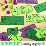 FREE dinosaur counting puzzles (1-20) fun for preschool, per-k, and kindergarten kiddos!