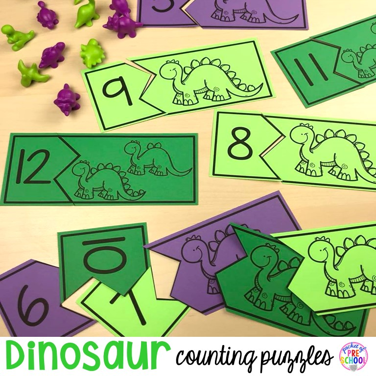 FREE dinosaur counting puzzles (1-20) fun for preschool, prek, and kindergarten kiddos! Can't wait to use these for my dinosaur theme.