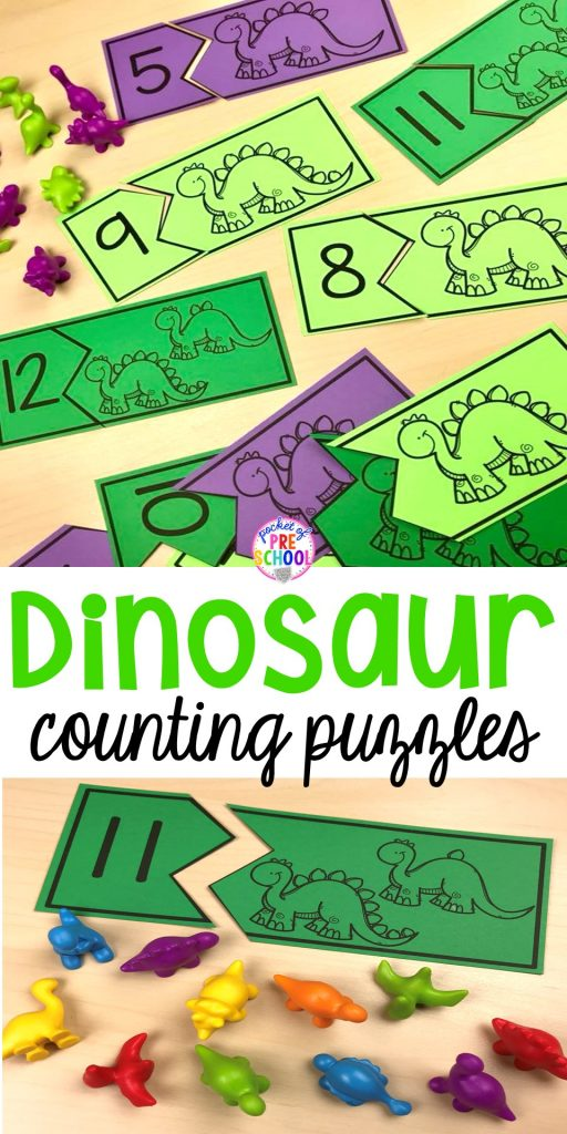 FREE dinosaur counting puzzles (1-20) fun for preschool, pre-k, and kindergarten kiddos! Can't wait to use these for my dinosaur theme. #pocketofpreschool #dinosaurtheme #countinggame #preschool