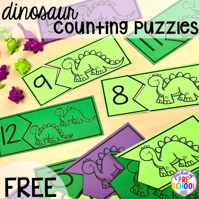 FREE dinosaur counting puzzles (1-20) fun for preschool, pre-k, and kindergarten kiddos! Can't wait to use these for my dinosaur theme.