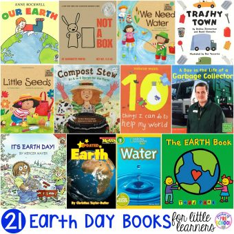 Earth Day book list little learners (preschool, pre-k, and kindergarten) fileld with my favorite Earth Day books for circle time.