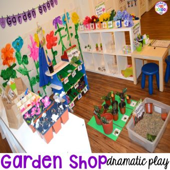 Garden Shop Dramatic Play (or Flower Shop) for a spring theme, Mother's Day theme, or summer theme when everything is growing and blooming. Any preschool, pre=k, and kindergarten kiddos will LOVE it (and learn a ton too). #flowershop #gardenshop #presschool #prek #dramaticplay