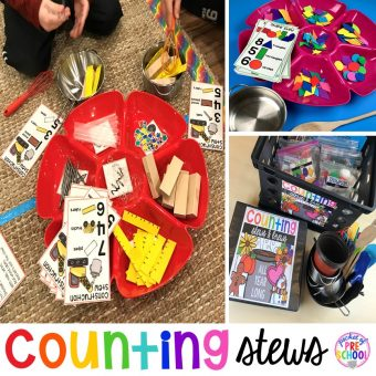 Counting Stews! A hands on counting game perfect for preschool, pre-k, and kindergarten. How to create them, how to implement them, and what students are learning.