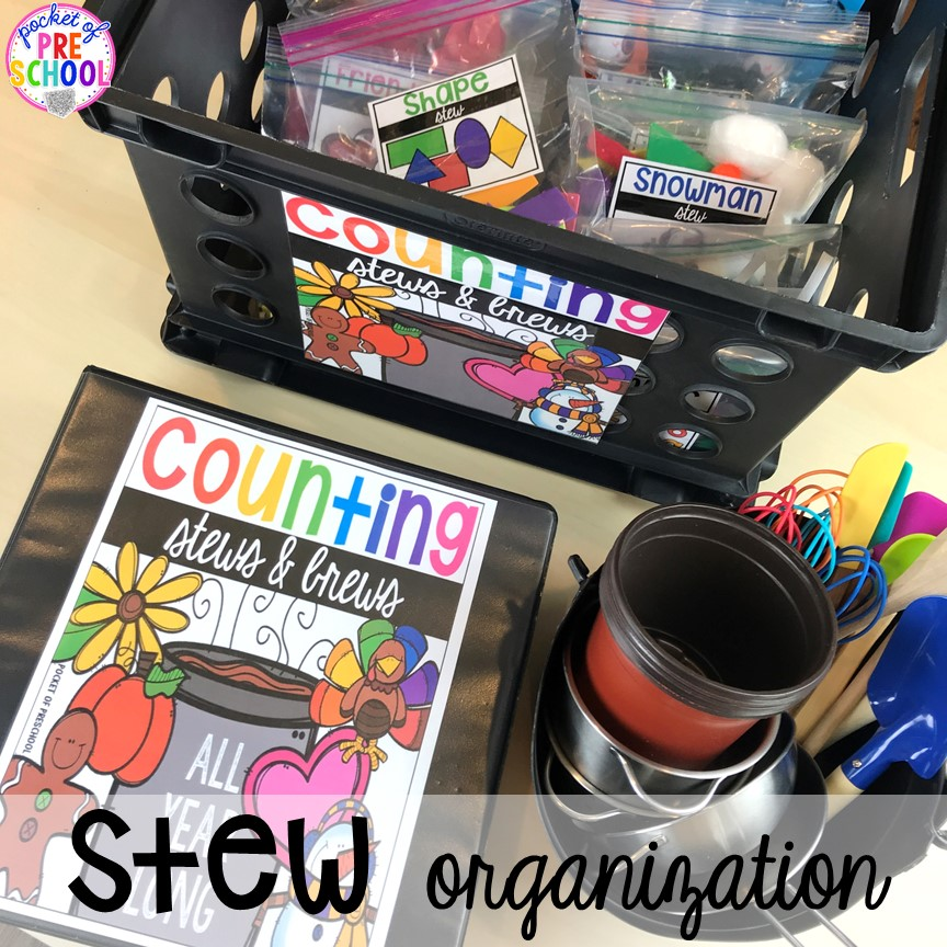 How to organize Counting Stews! A hands on counting game perfect for preschool, pre-k, and kindergarten. How to create them, how to implement them, and what students are learning.