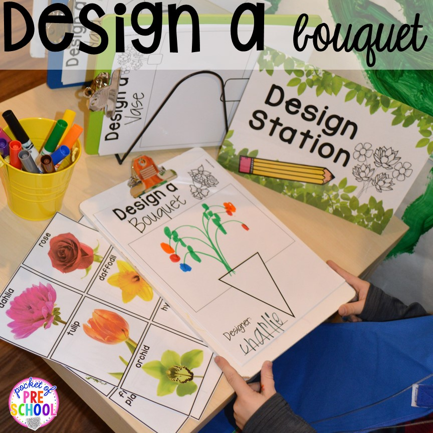 STEM design challenge! Flower Shop Dramatic Play for a spring theme, Mother's Day theme, or summer theme when everything is growing and blooming. Any preschool, pre=k, and kindergarten kiddos will LOVE it (and learn a ton too). #flowershop #gardenshop #presschool #prek #dramaticplay