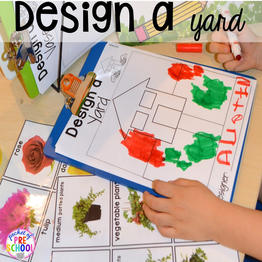 STEM design challenges in our Garden Shop Dramatic Play for a spring theme, Mother's Day theme, or summer theme when everything is growing and blooming. Any preschool, pre=k, and kindergarten kiddos will LOVE it (and learn a ton too). #flowershop #gardenshop #presschool #prek #dramaticplay