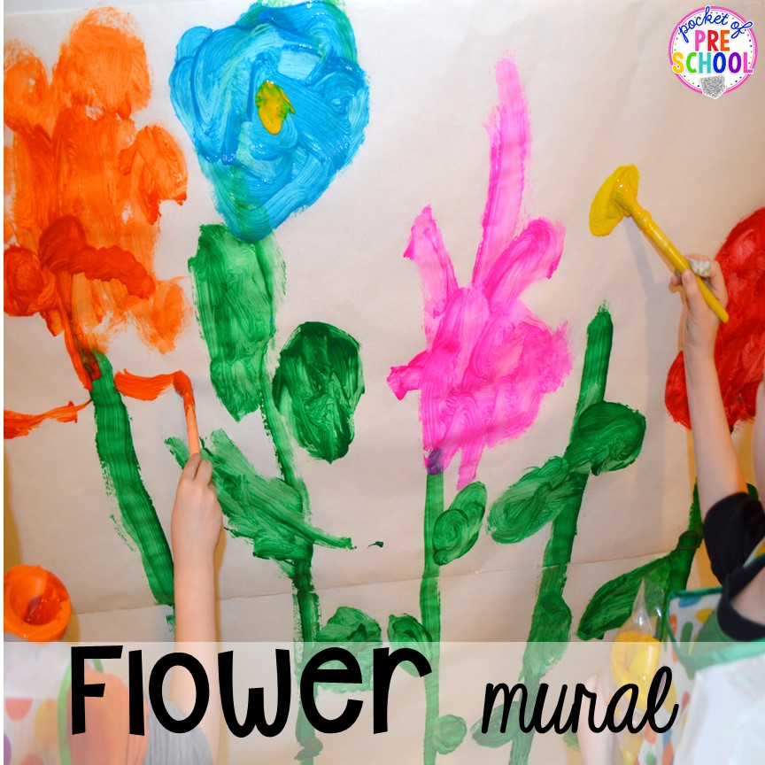 Flower mural in our Flower Shop Dramatic Play for a spring theme, Mother's Day theme, or summer theme when everything is growing and blooming. Any preschool, pre=k, and kindergarten kiddos will LOVE it (and learn a ton too). #flowershop #gardenshop #presschool #prek #dramaticplay