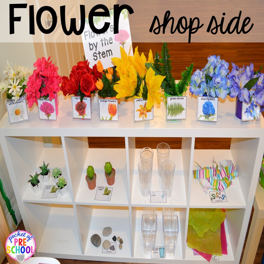 Flower shelf in our Flower Shop Dramatic Play for a spring theme, Mother's Day theme, or summer theme when everything is growing and blooming. Any preschool, pre=k, and kindergarten kiddos will LOVE it (and learn a ton too). #flowershop #gardenshop #presschool #prek #dramaticplay
