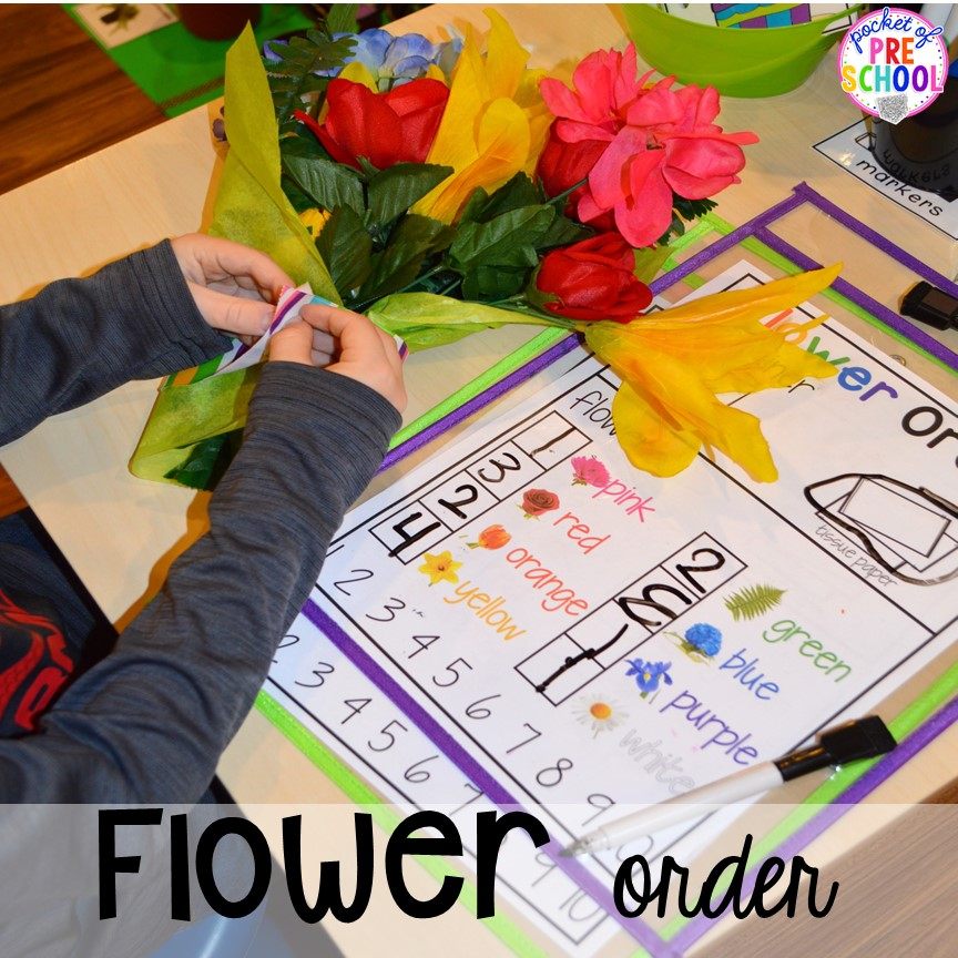 Flower order for the Flower Shop Dramatic Play for a spring theme, Mother's Day theme, or summer theme when everything is growing and blooming. Any preschool, pre=k, and kindergarten kiddos will LOVE it (and learn a ton too). #flowershop #gardenshop #presschool #prek #dramaticplay