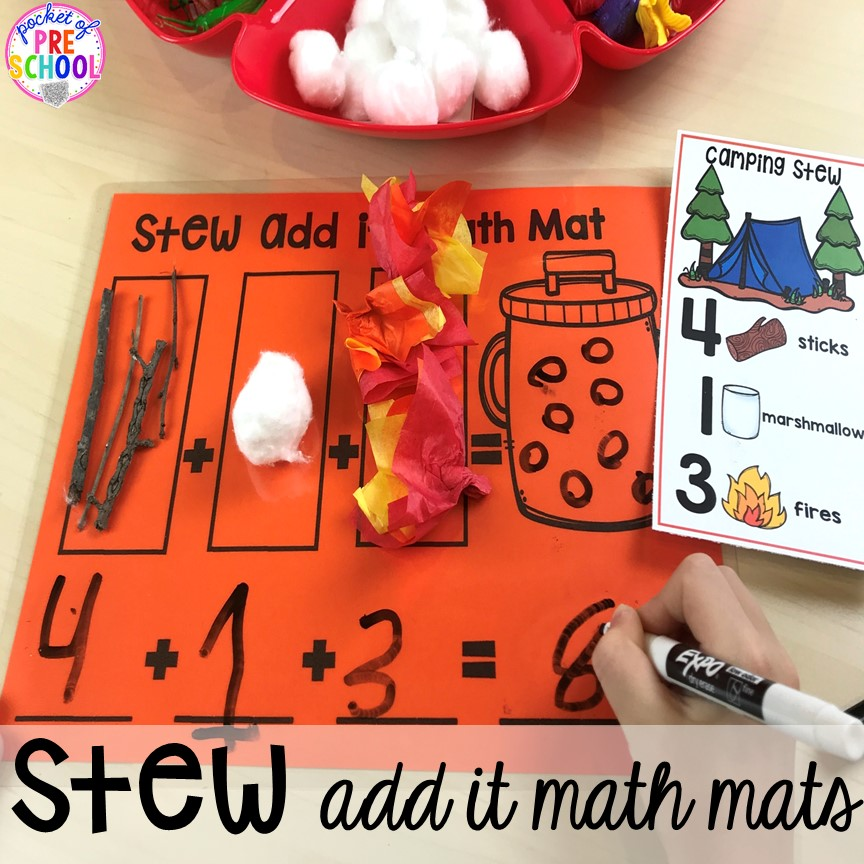 Add It Mats for Counting Stews! A hands on counting and addition game perfect for kindergarten and first grade. How to create them, how to implement them, and what students are learning.