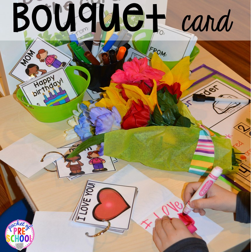 Cards! Flower Shop Dramatic Play for a spring theme, Mother's Day theme, or summer theme when everything is growing and blooming. Any preschool, pre=k, and kindergarten kiddos will LOVE it (and learn a ton too). #flowershop #gardenshop #presschool #prek #dramaticplay