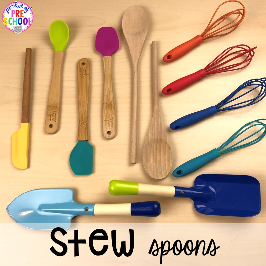 What spoons to use for Counting Stews! A hands on counting game perfect for preschool, pre-k, and kindergarten. How to create them, how to implement them, and what students are learning.