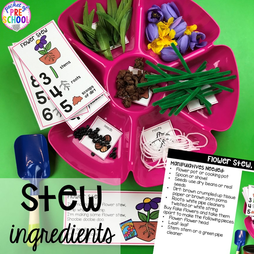 Where to find Counting Stews ingredients! A hands on counting game perfect for preschool, pre-k, and kindergarten. How to create them, how to implement them, and what students are learning.
