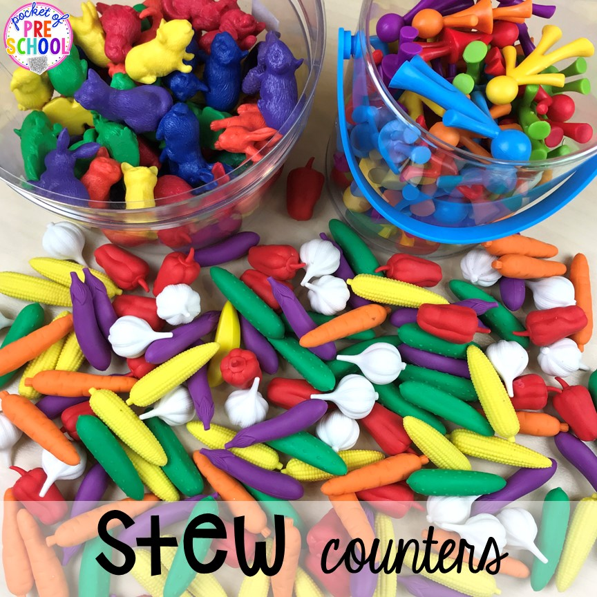 What counters to use Counting Stews! A hands on counting game perfect for preschool, pre-k, and kindergarten. How to create them, how to implement them, and what students are learning.