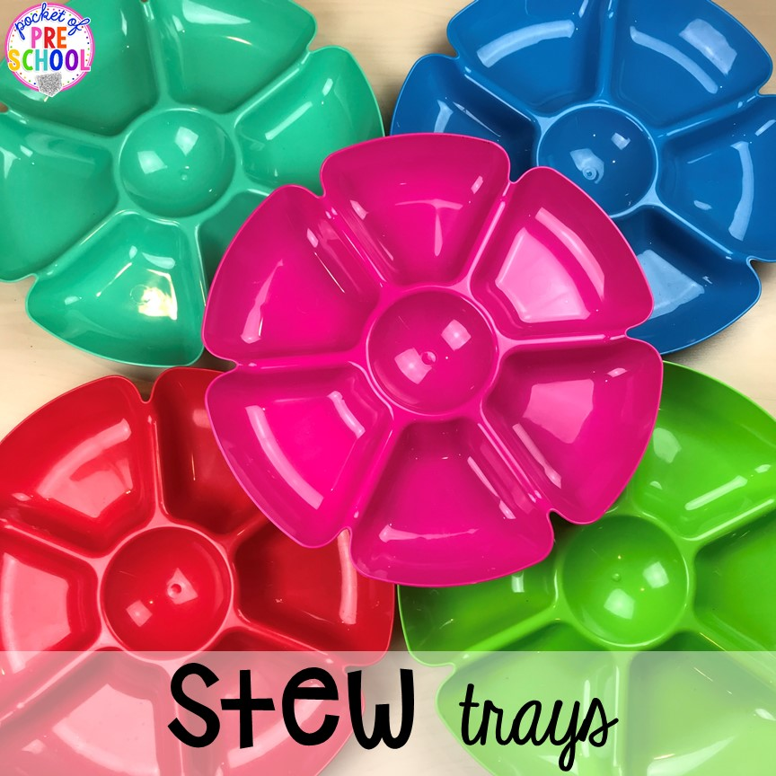 What trays to use for Counting Stews! A hands on counting game perfect for preschool, pre-k, and kindergarten. How to create them, how to implement them, and what students are learning.