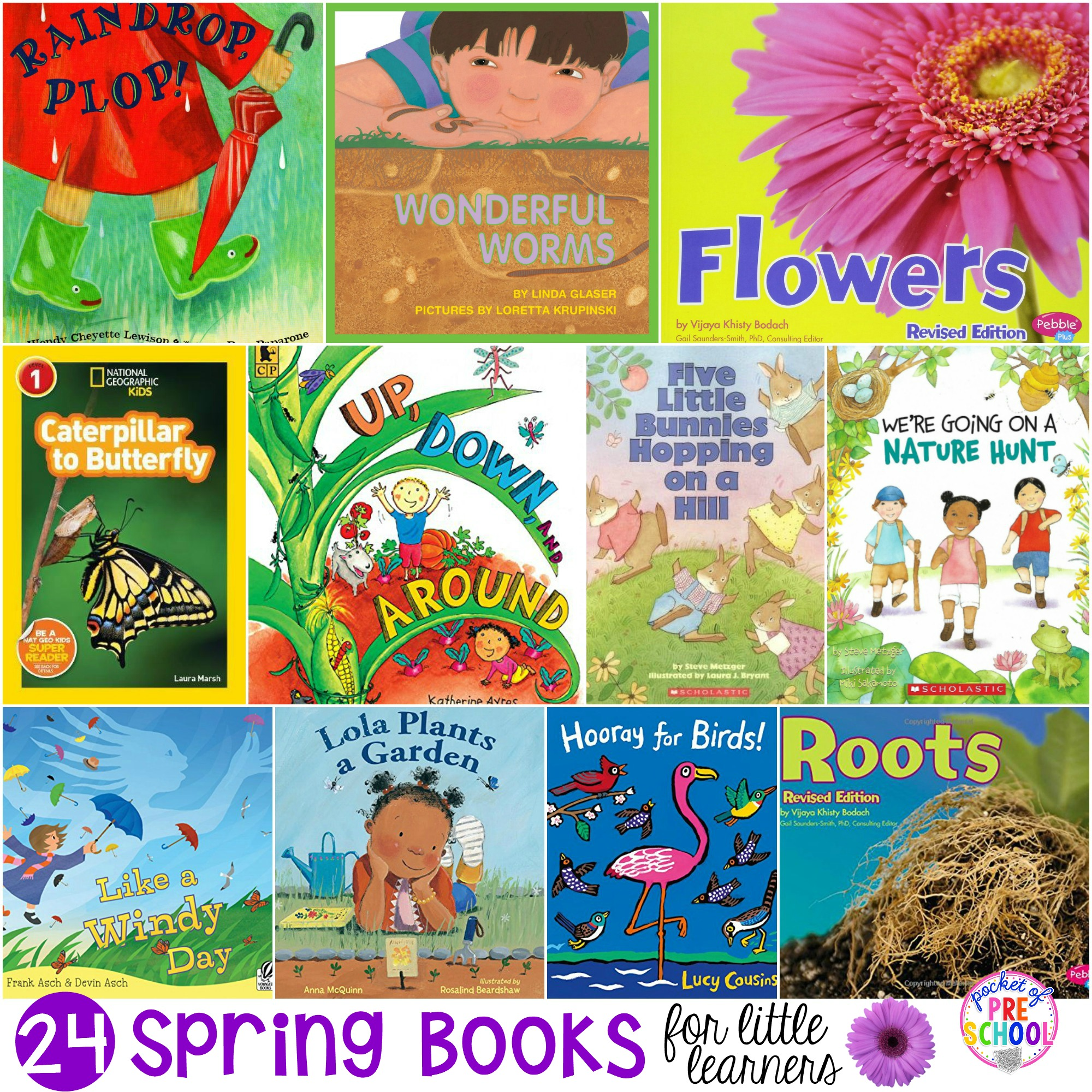 GIANT list of Spring Books for Little Learners... filled with books about bugs, weather, plants, and spring animals!