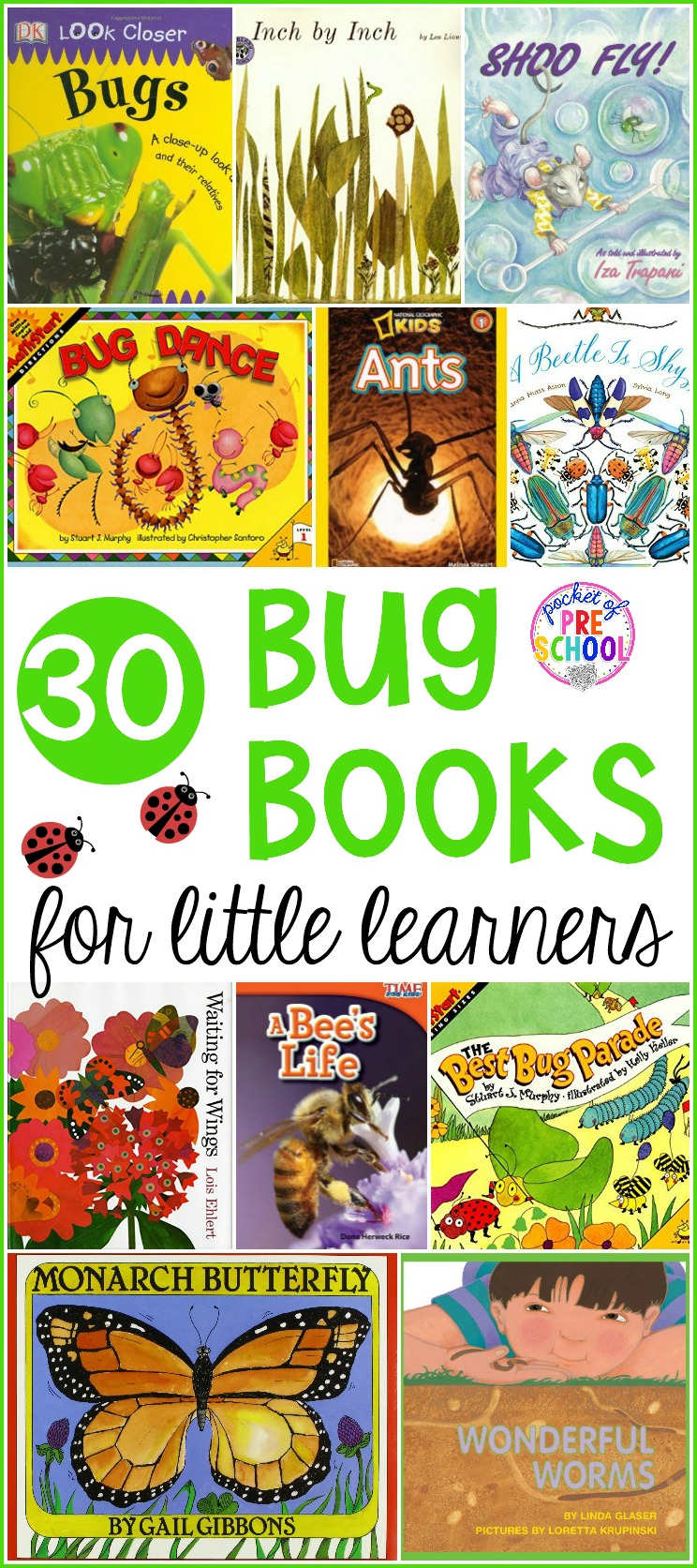 GIANT insect and bug book list full of our favorite insect books for circle time in our preschool, pre-k, and kindergarten classroom. #bugbooks #insectbooks #preschoolbooks #preschool #prek