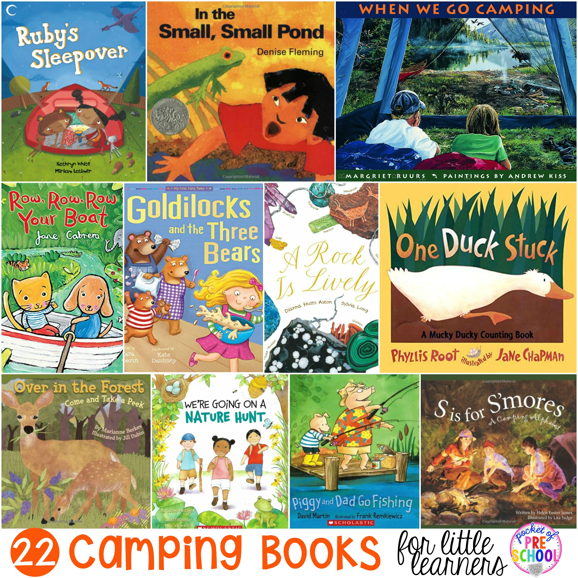 Giant list of Camping Books for Little Learners. Our favorite books for circle time that our preschool, pre-k, and kindergarten kiddos love.