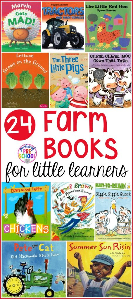 Giant list of farm books for preschool, pre-k, and kindergarten. This book list if packed with farm books perfect for circle time.