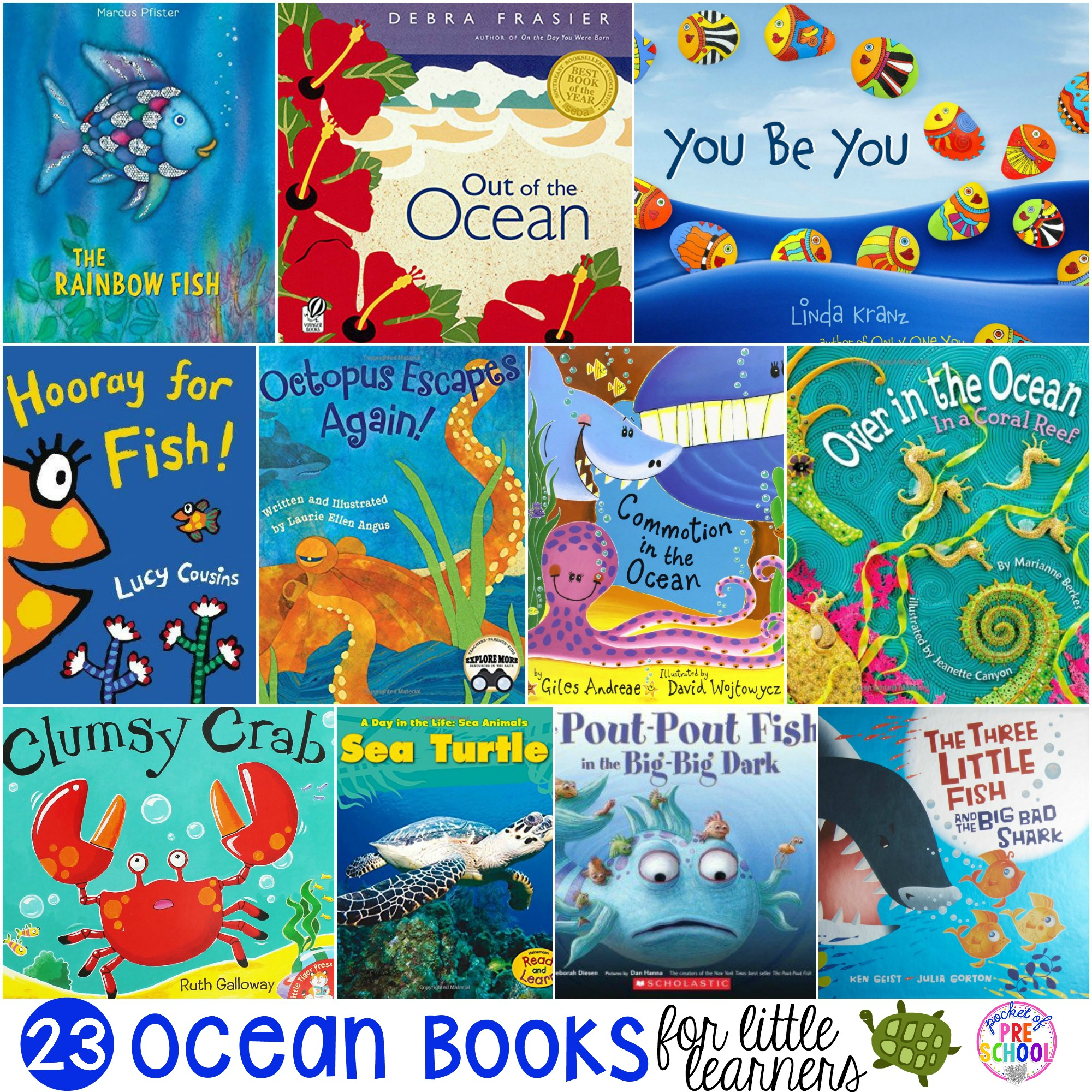 HUGE ocean book list my preschool & pre-k students love and we love reading at circle time. #oceanbooks #preschool #prek #oceantheme