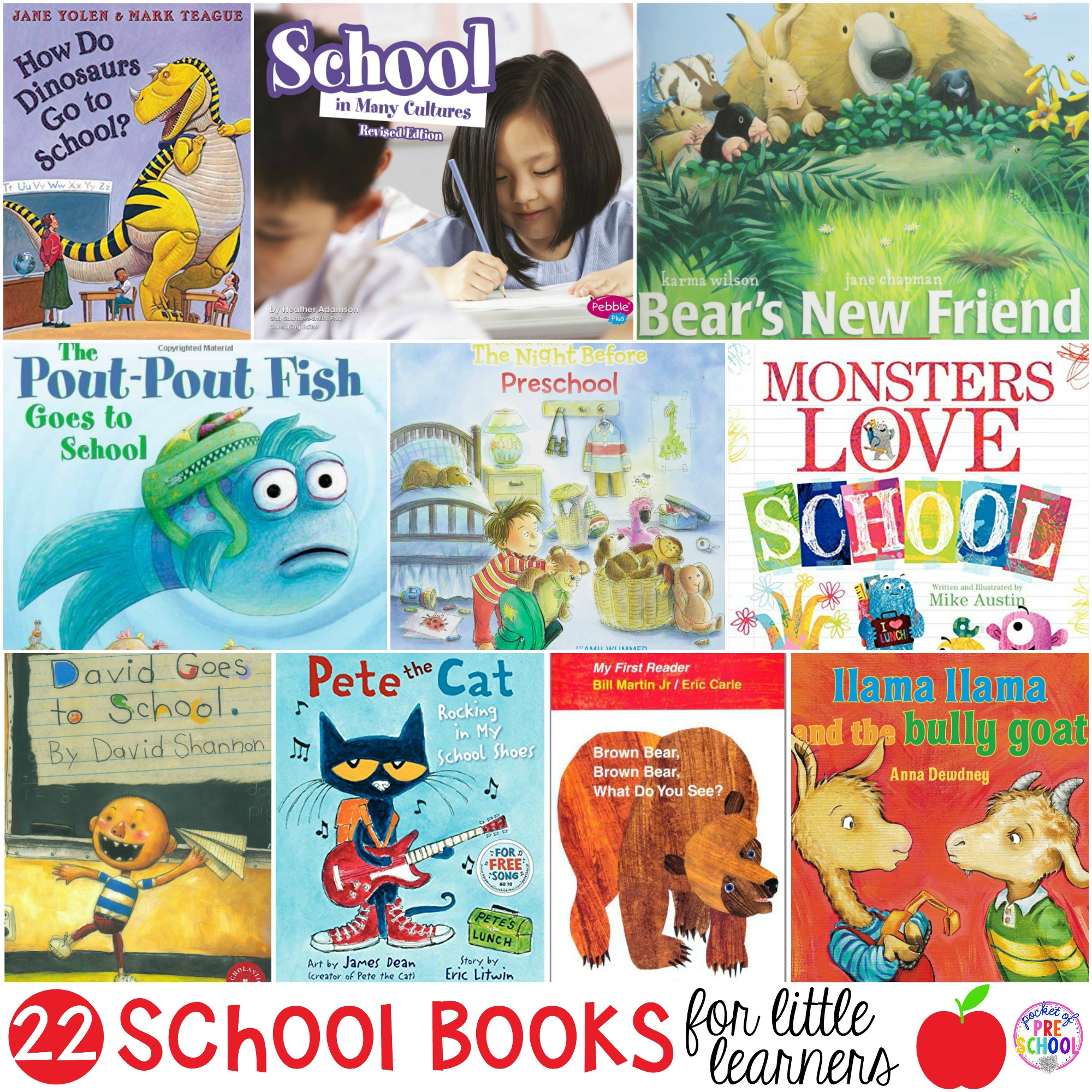 The ultimate school book list your preschool, pre-k, and kindergarten kiddos will love listening to at circle during back to school. #preschool #prek #schoolbooks #booklist