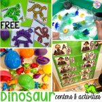 Dinosaur freebies plus tons of dinosaur themed activities & centers (math, literacy, fine motor, science, & more) your preschool, pre-k, and kindergarten students will love! #preschool #pocketofpreschool #dinosaurtheme