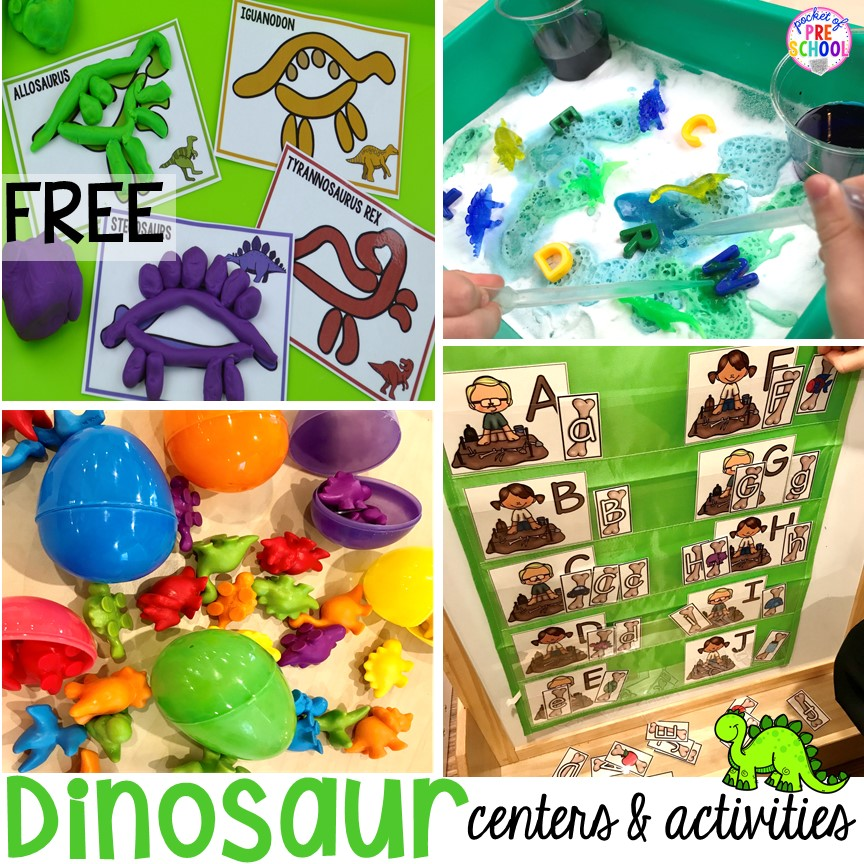 Dinosaur freebies plus tons of dinosaur themed activities & centers your preschool, pre-k, and kindergarten students will love! #preschool #pocketofpreschool #dinosaurtheme